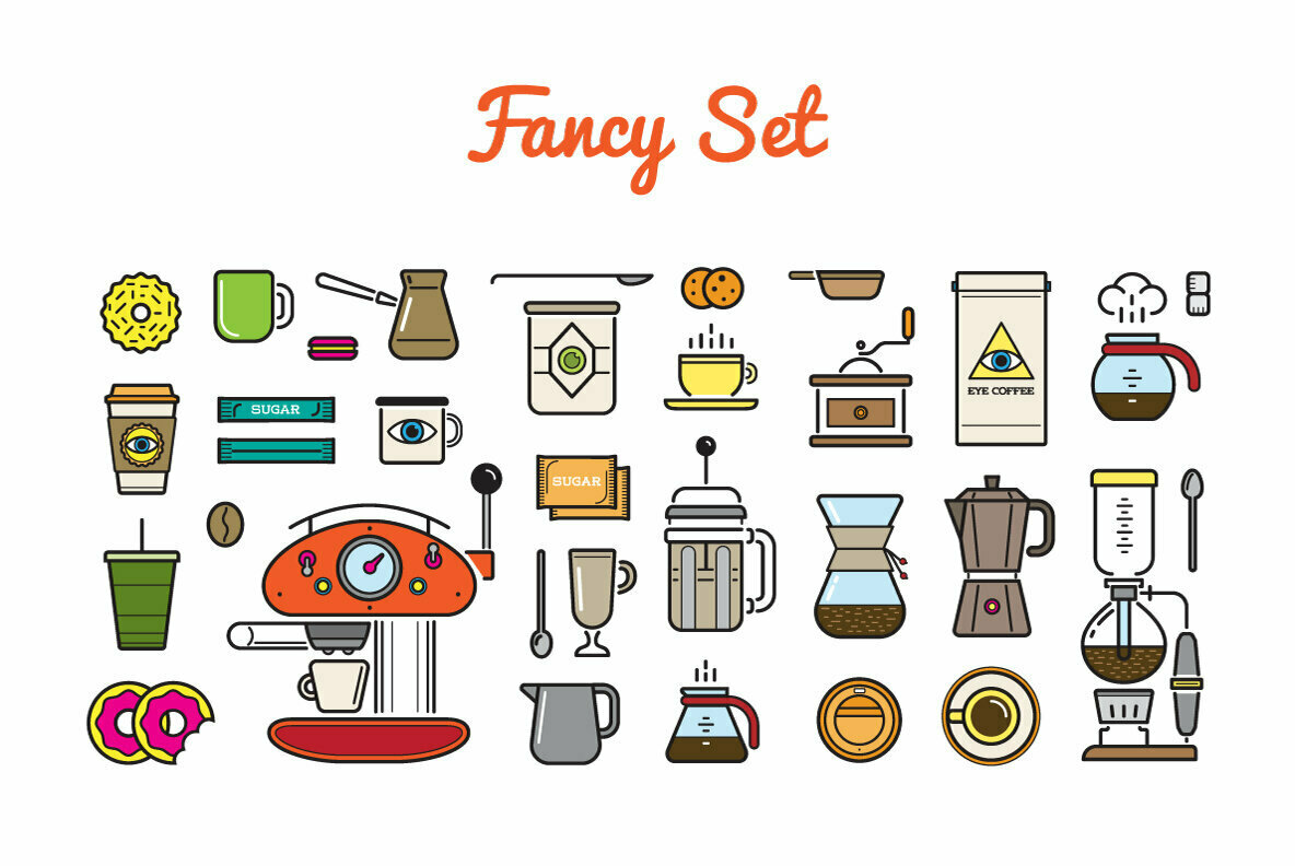 Awesome Coffee Icons and Logotype Set