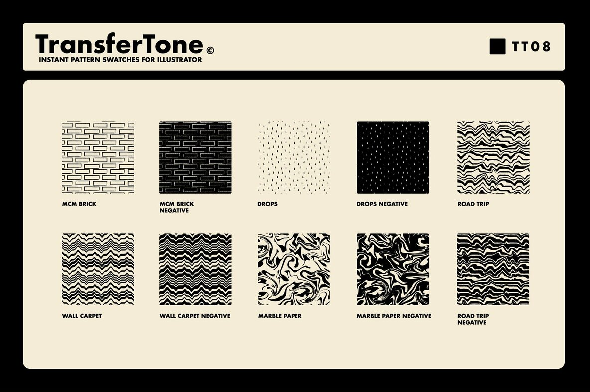 TransferTone   Dry Transfer Patterns for Adobe Illustrator