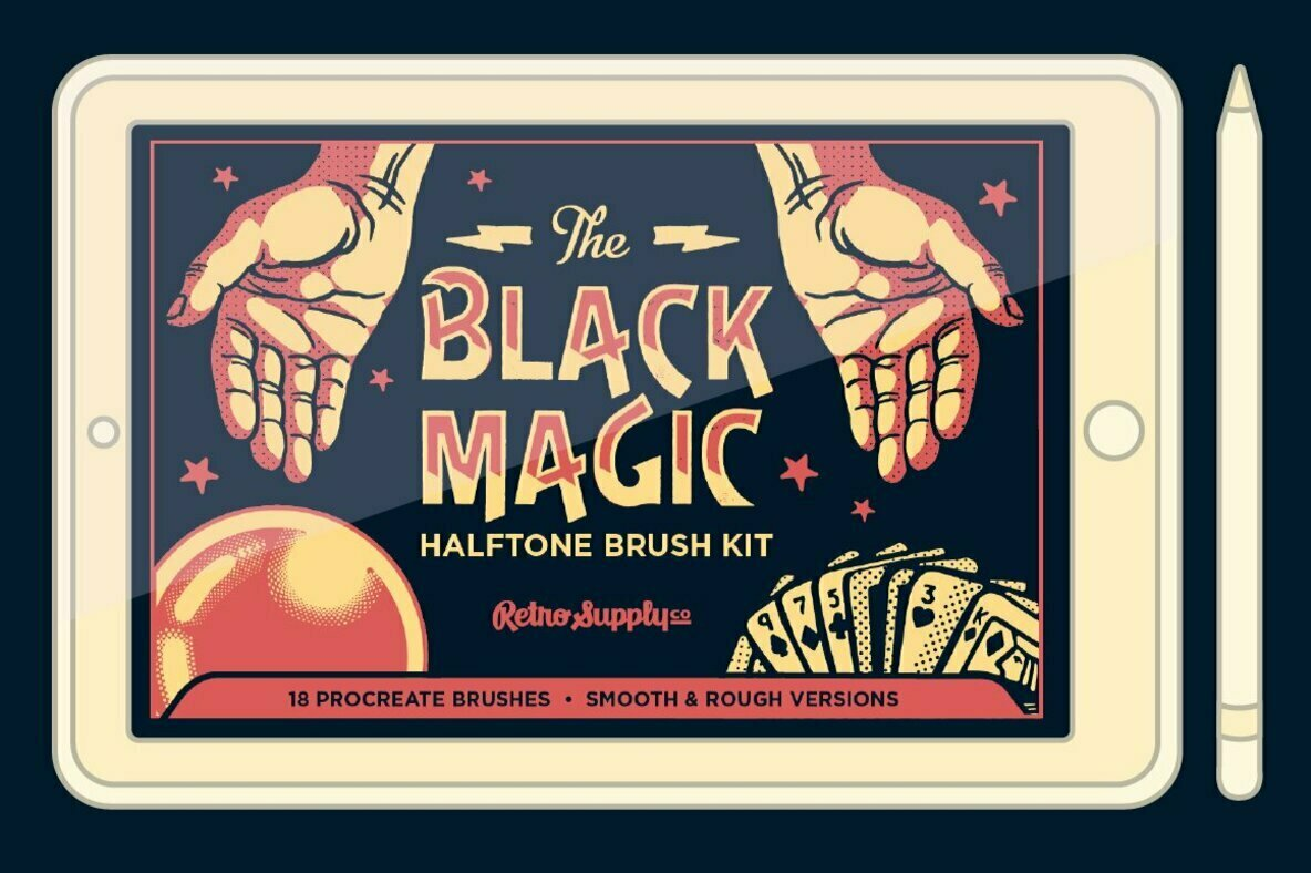 Black Magic Halftones   Halftone Brushes for Procreate