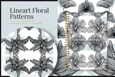 Lineart Floral Patterns  Elements