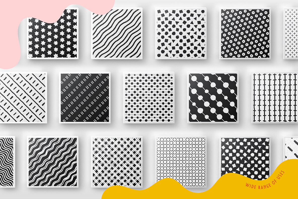 100 Hand drawn Seamless Patterns Collection