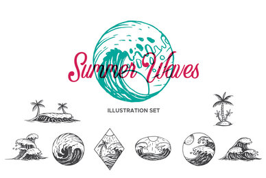 Summer Waves Illustration Set