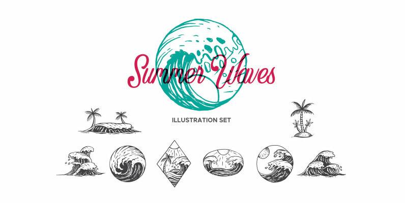 Summer Waves Illustration Set