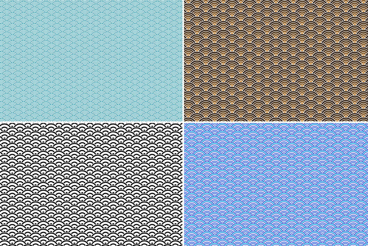 20 Seigaiha Pattern Backgrounds
