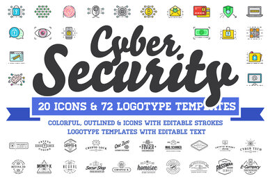 Cyber Security Logos and Icons Set