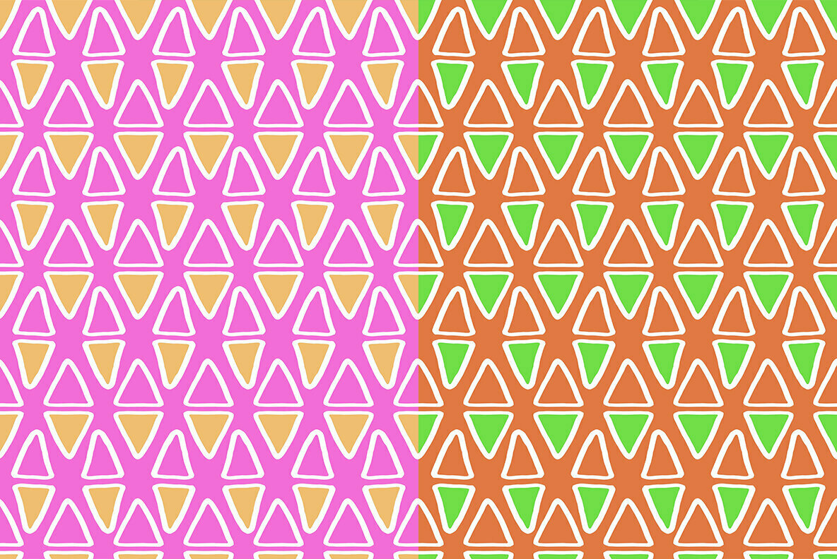 Colorful Doodle Triangles Pattern