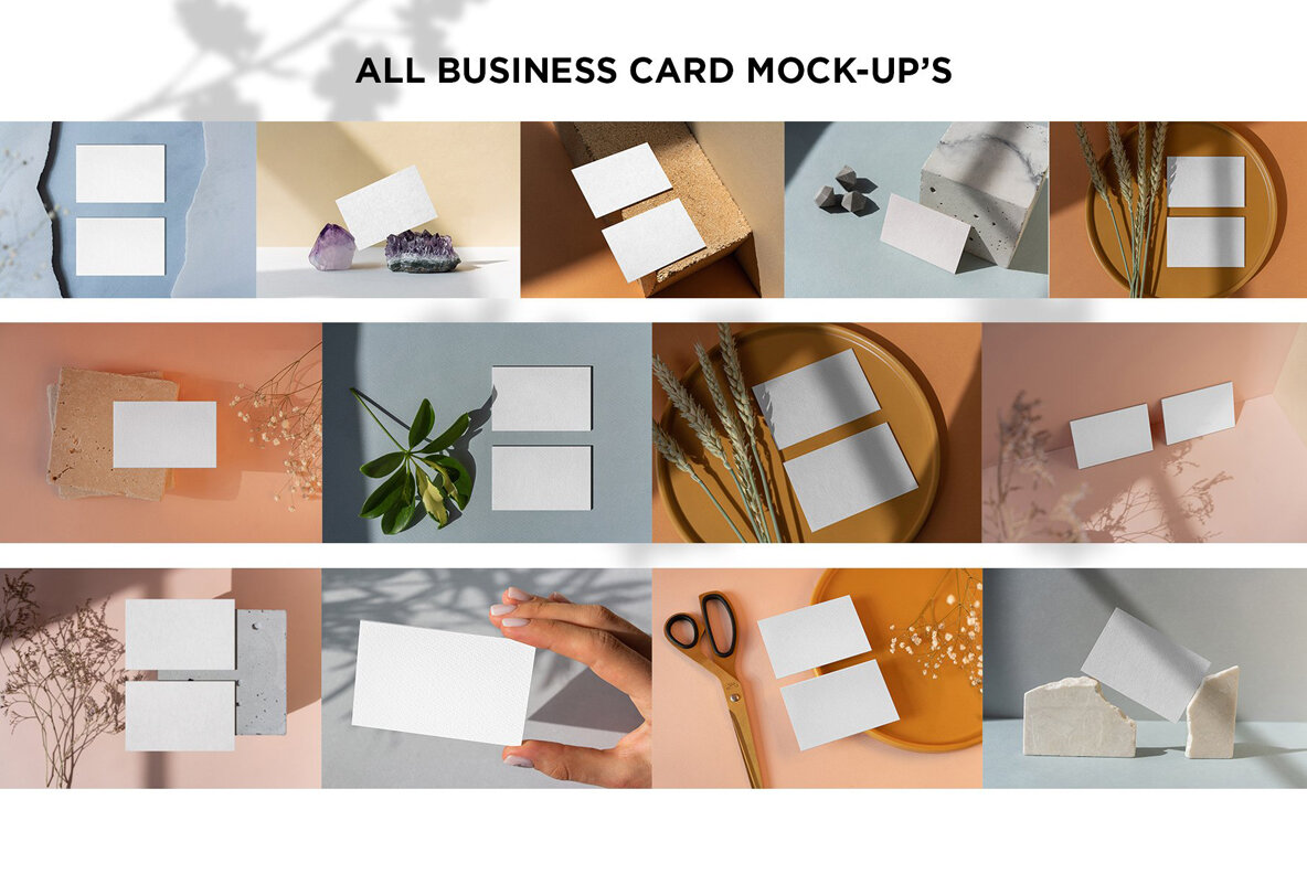 Business Card Mock Up Shadows Collection