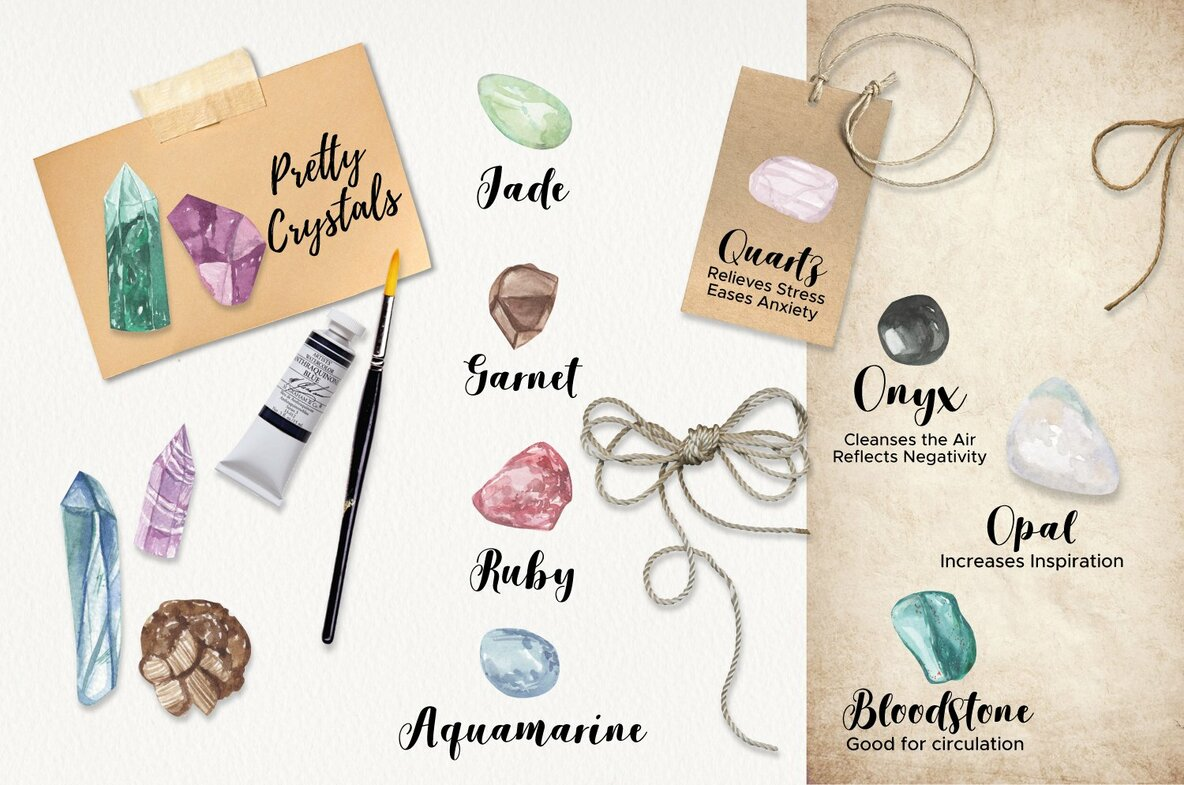 Crystals   Gems Watercolor Package