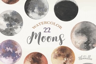 Moons Watercolor Package
