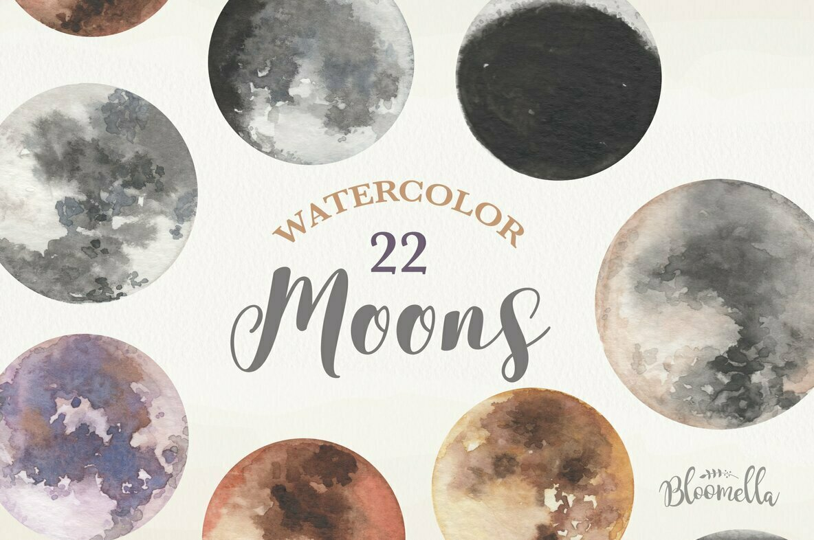 Moons Watercolor Package