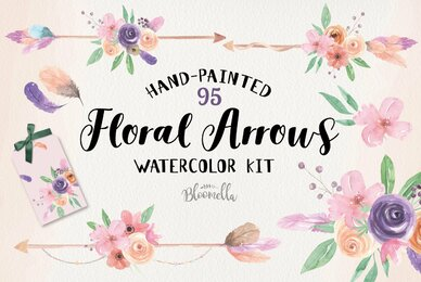 Floral Arrows Watercolor Package