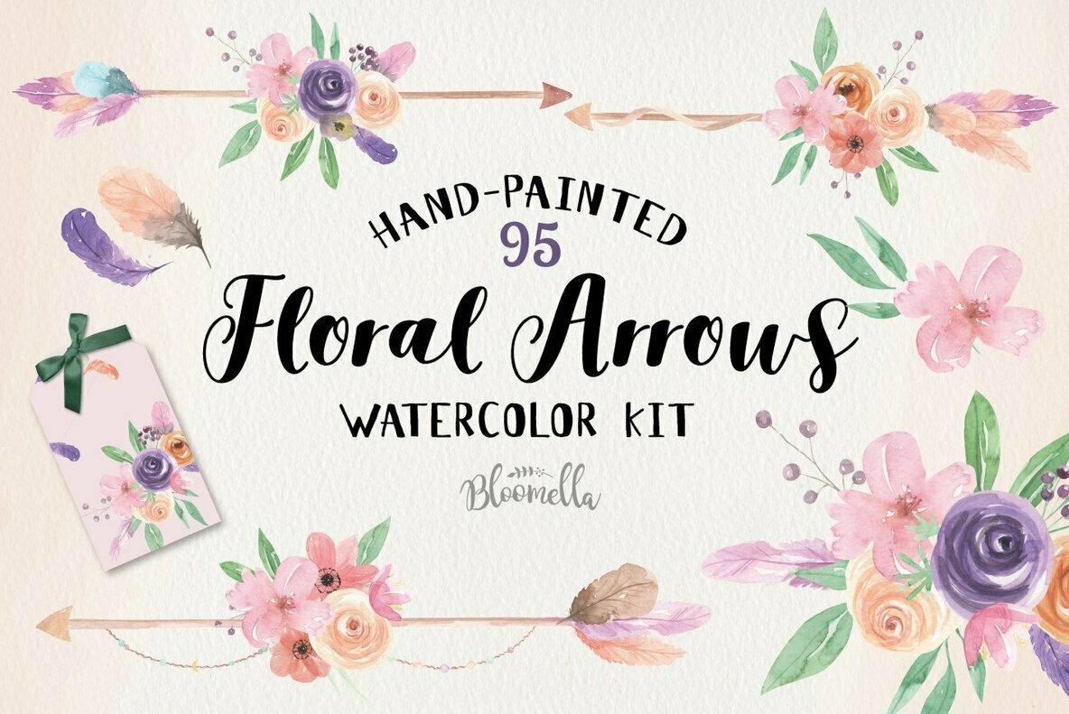 Floral Arrows Watercolor Package
