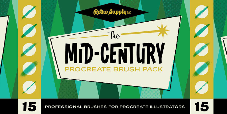 The Mid Century Brush Pack for Procreate