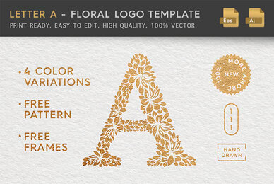 Letter A   Floral Logo Template