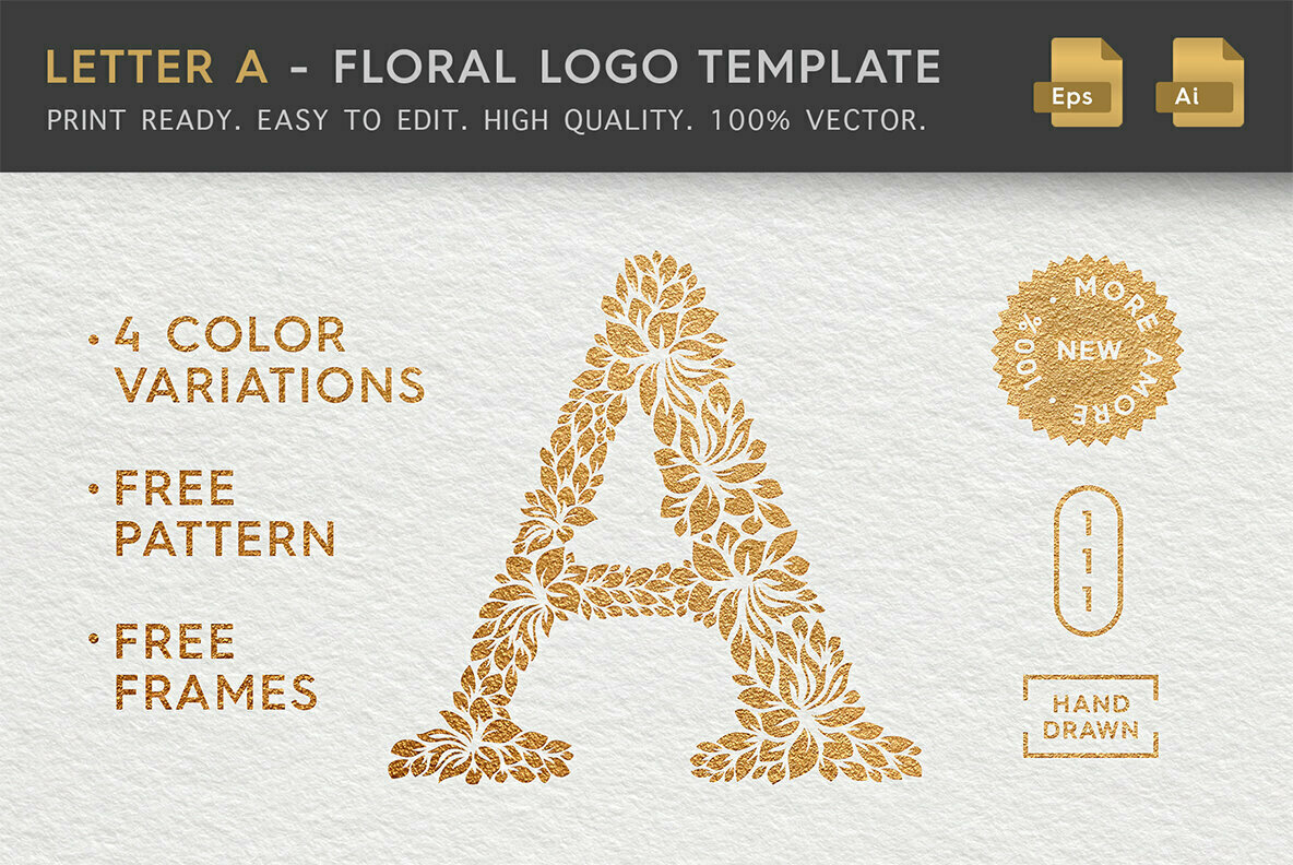 Letter A   Floral Logo Template