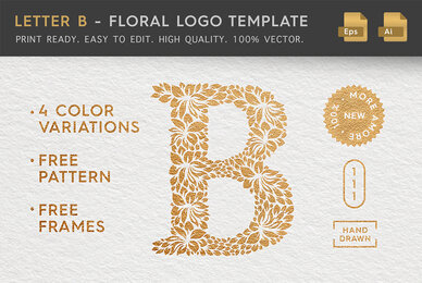 Letter B   Floral Logo Template