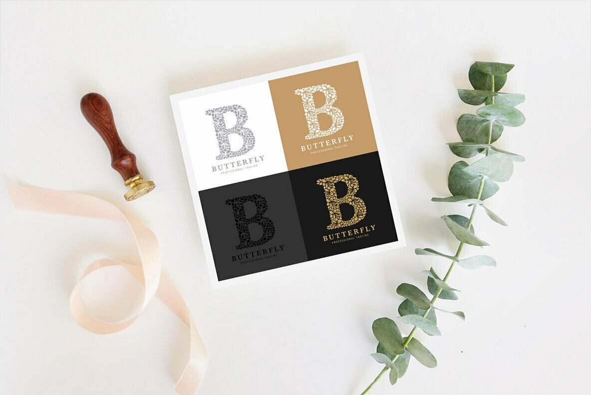 Letter B   Floral Logo Template