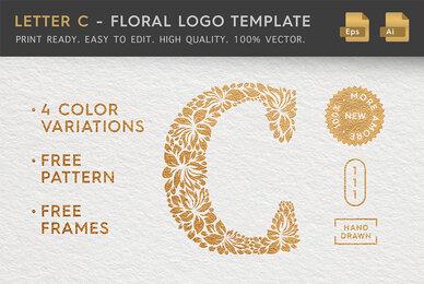 Letter C   Floral Logo Template