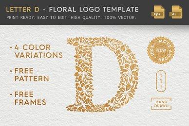 Letter D   Floral Logo Template