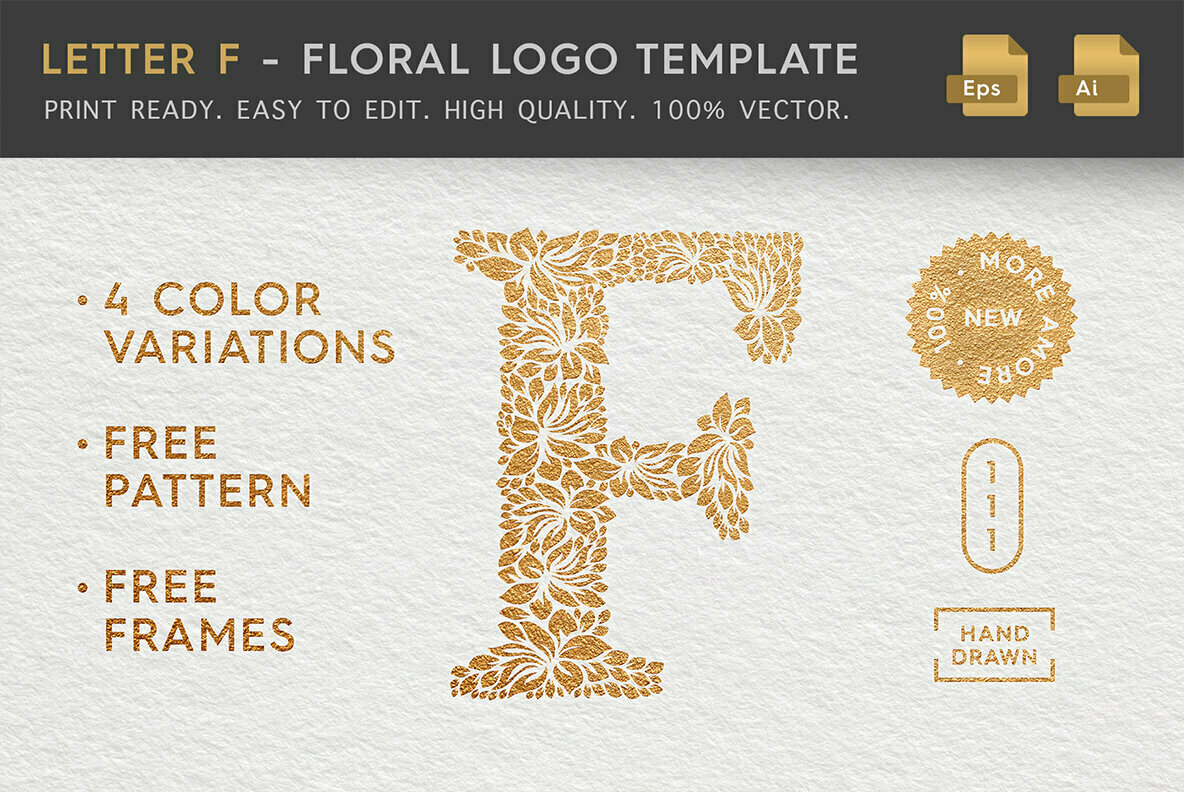 Letter F   Floral Logo Template