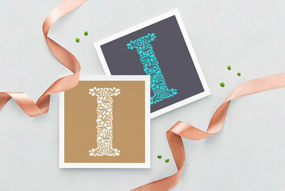 Letter I   Floral Logo Template