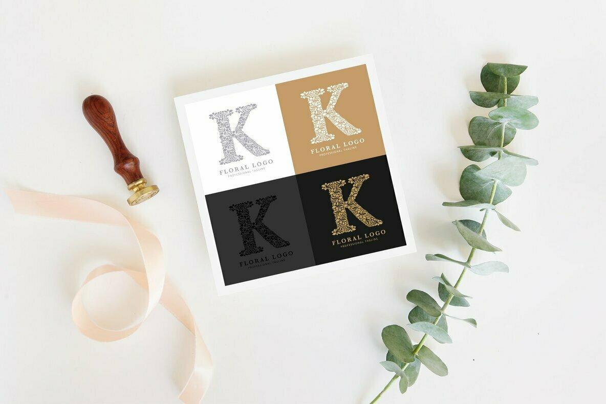 Letter K   Floral Logo Template