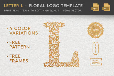 Letter L   Floral Logo Template