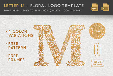 Letter M   Floral Logo Template