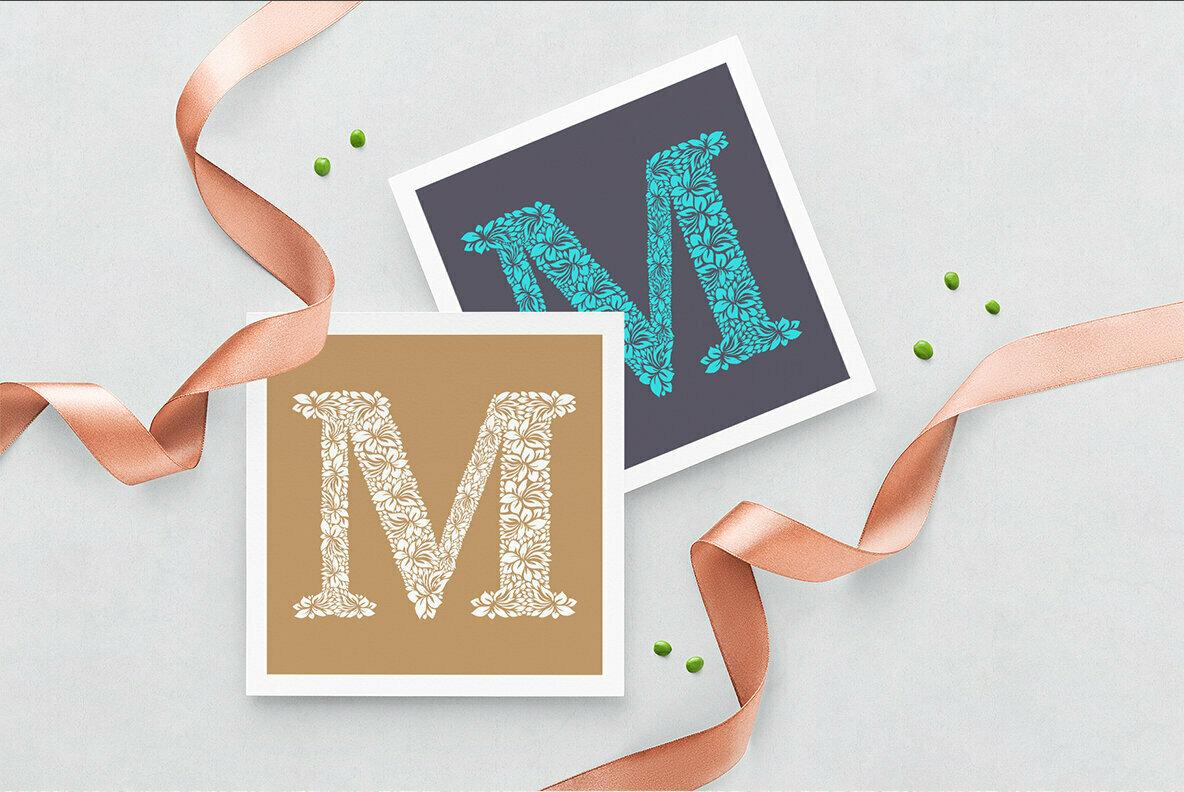 Letter M   Floral Logo Template