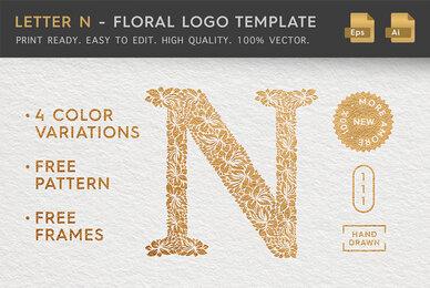 Letter N   Floral Logo Template