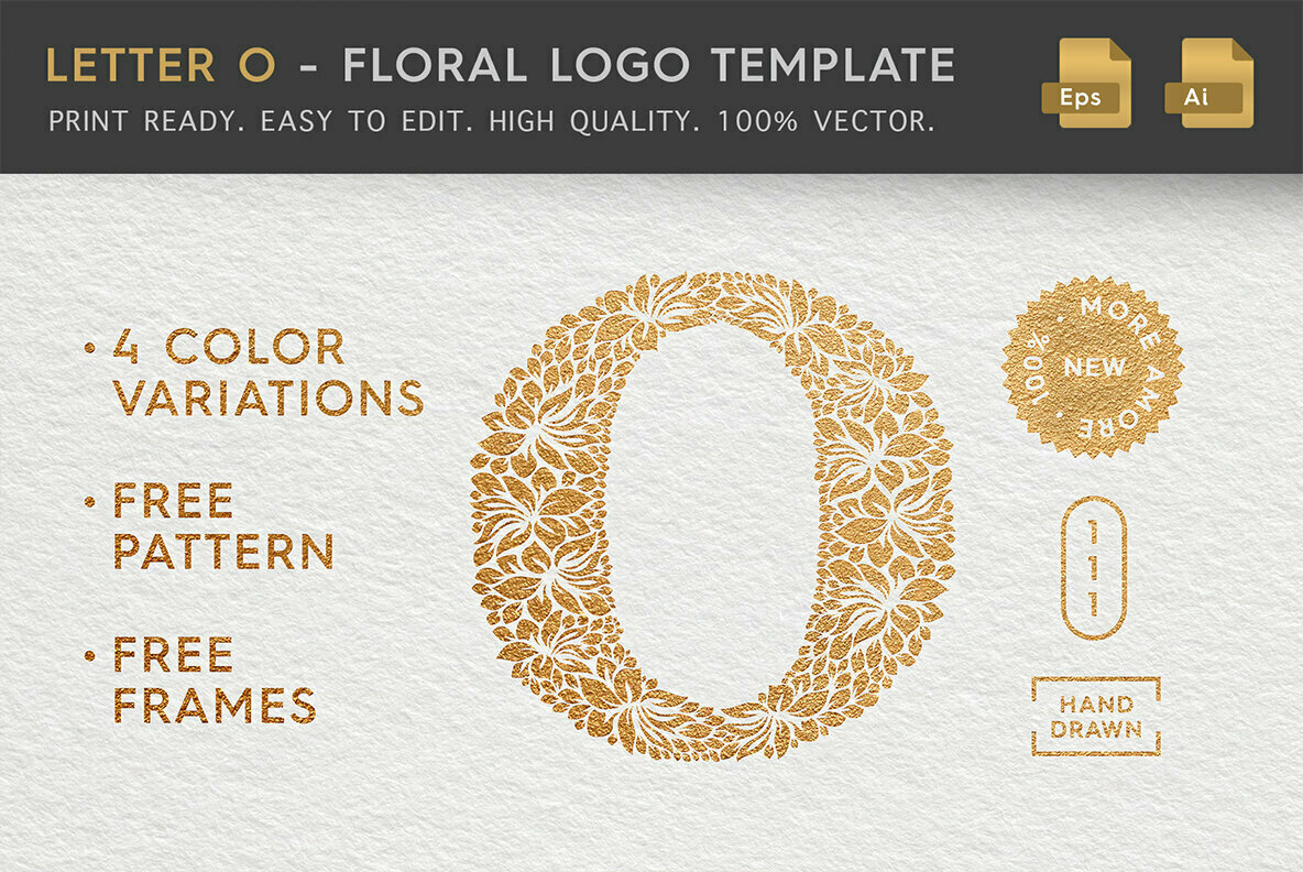 Letter O   Floral Logo Template