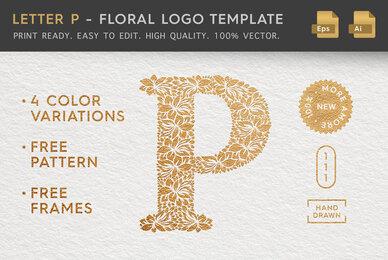 Letter P   Floral Logo Template