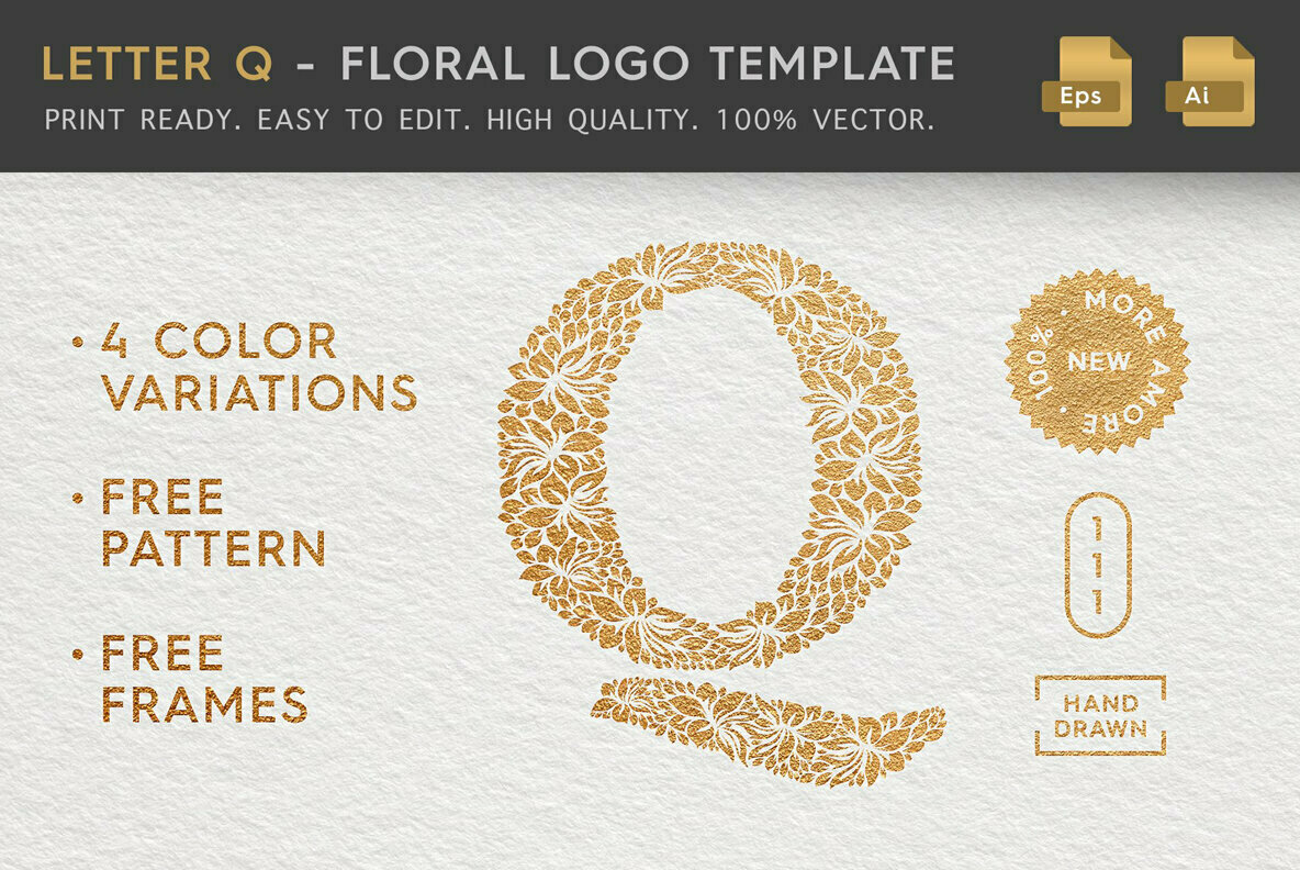 Letter Q   Floral Logo Template