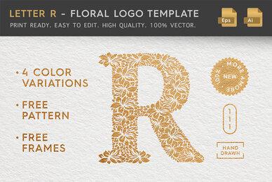Letter R   Floral Logo Template