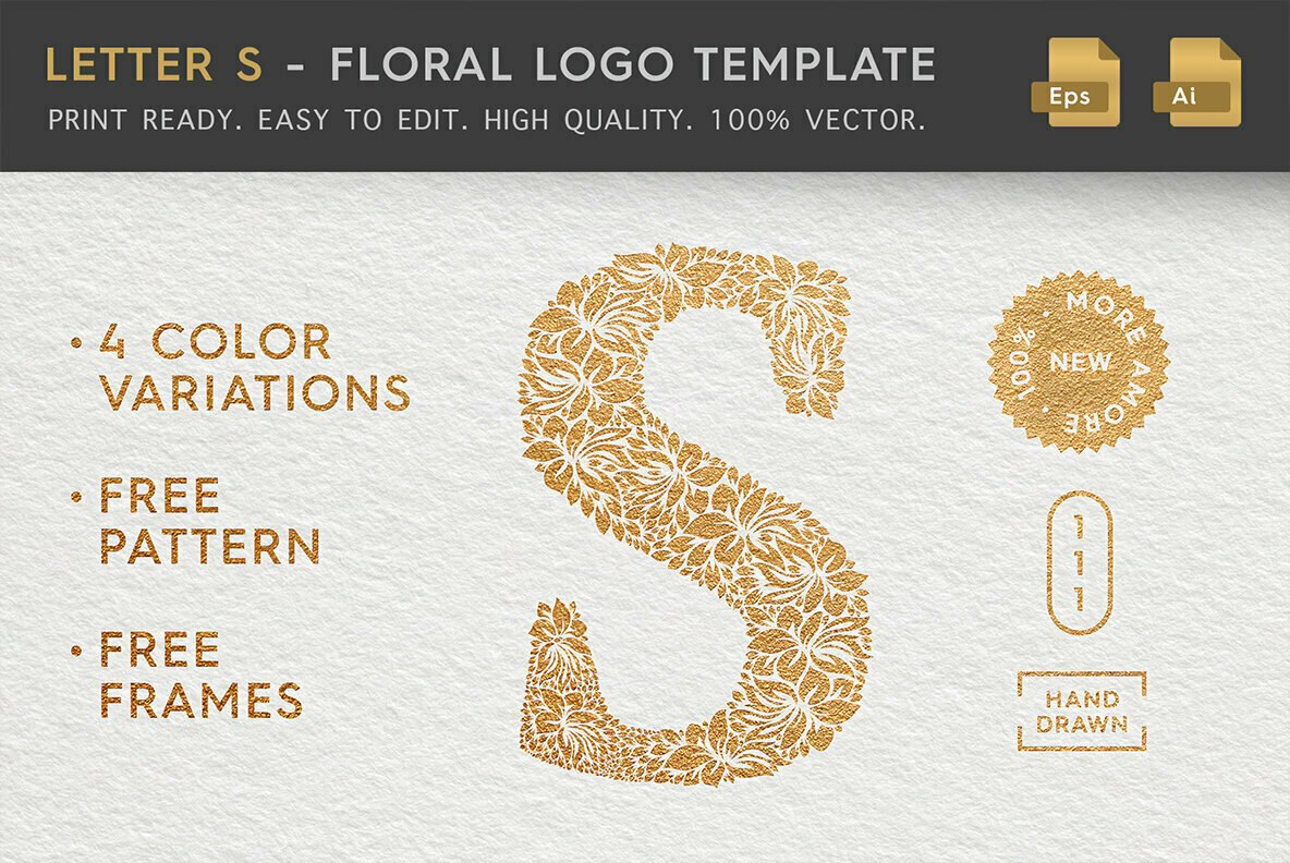 Letter S   Floral Logo Template