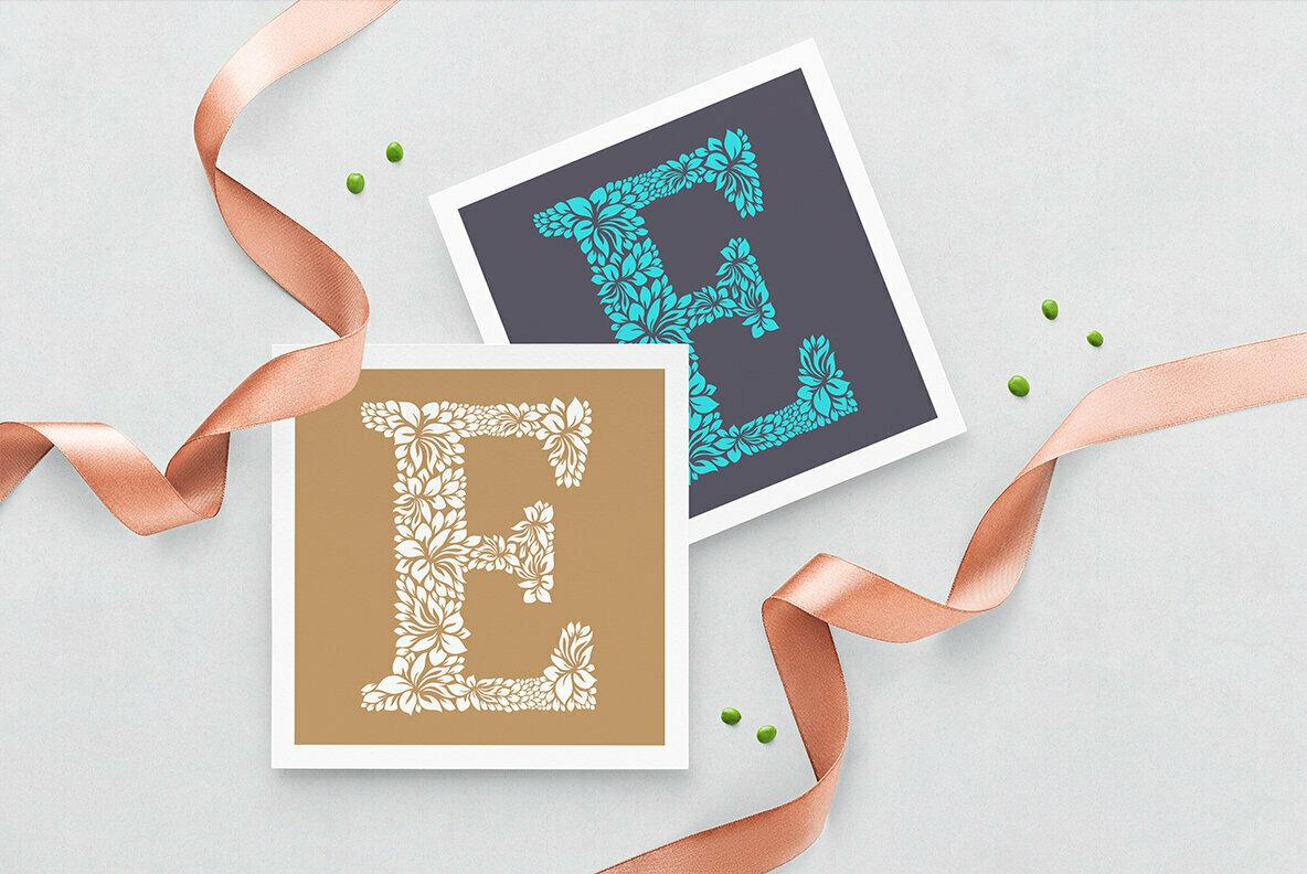 Letter E   Floral Logo Template