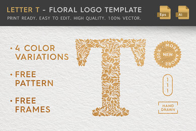 Letter T   Floral Logo Template