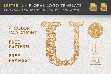 Letter U   Floral Logo Template