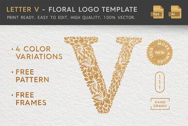 Letter V   Floral Logo Template