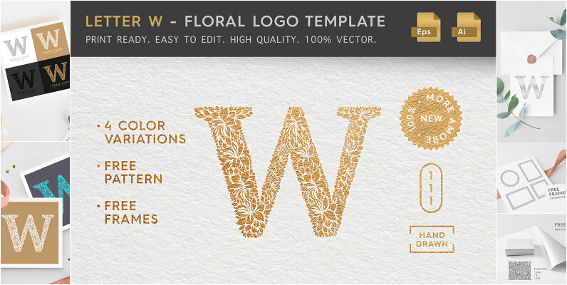 Letter W   Floral Logo Template