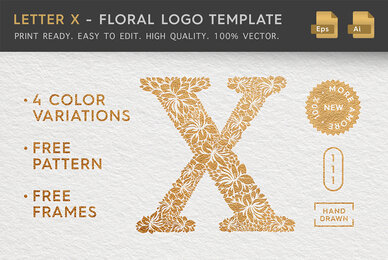 Letter X   Floral Logo Template