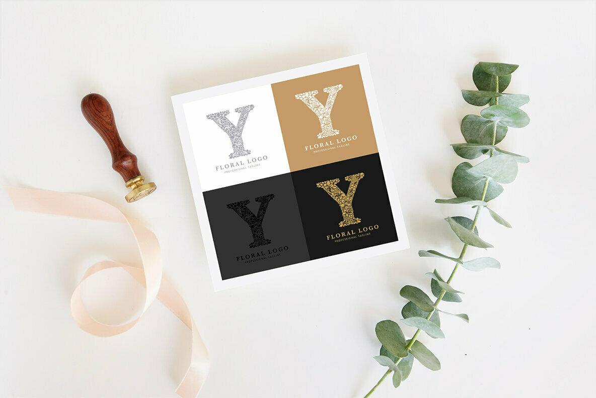 Letter Y   Floral Logo Template