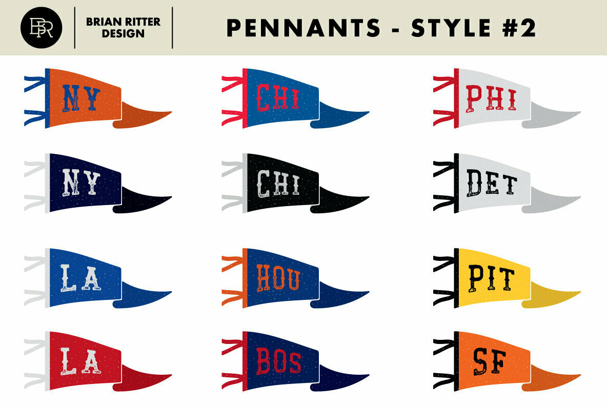 Vintage Pennants with Baseball Vectors