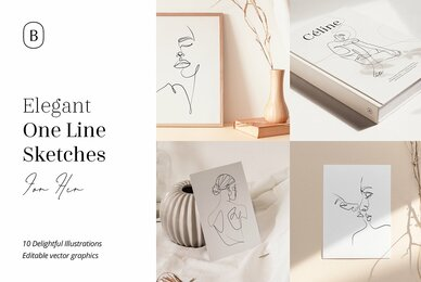 Elegant One Line Sketches