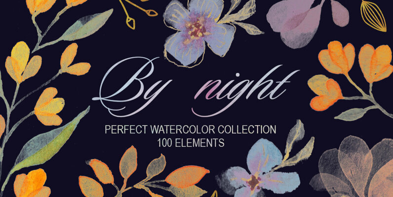 By night   Transparent Watercolor Collection