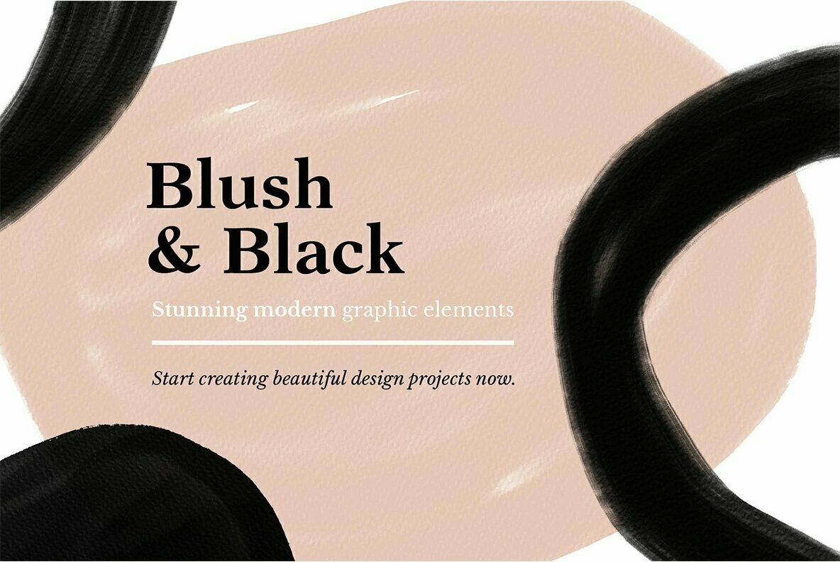 Blush   Black Organic Shapes