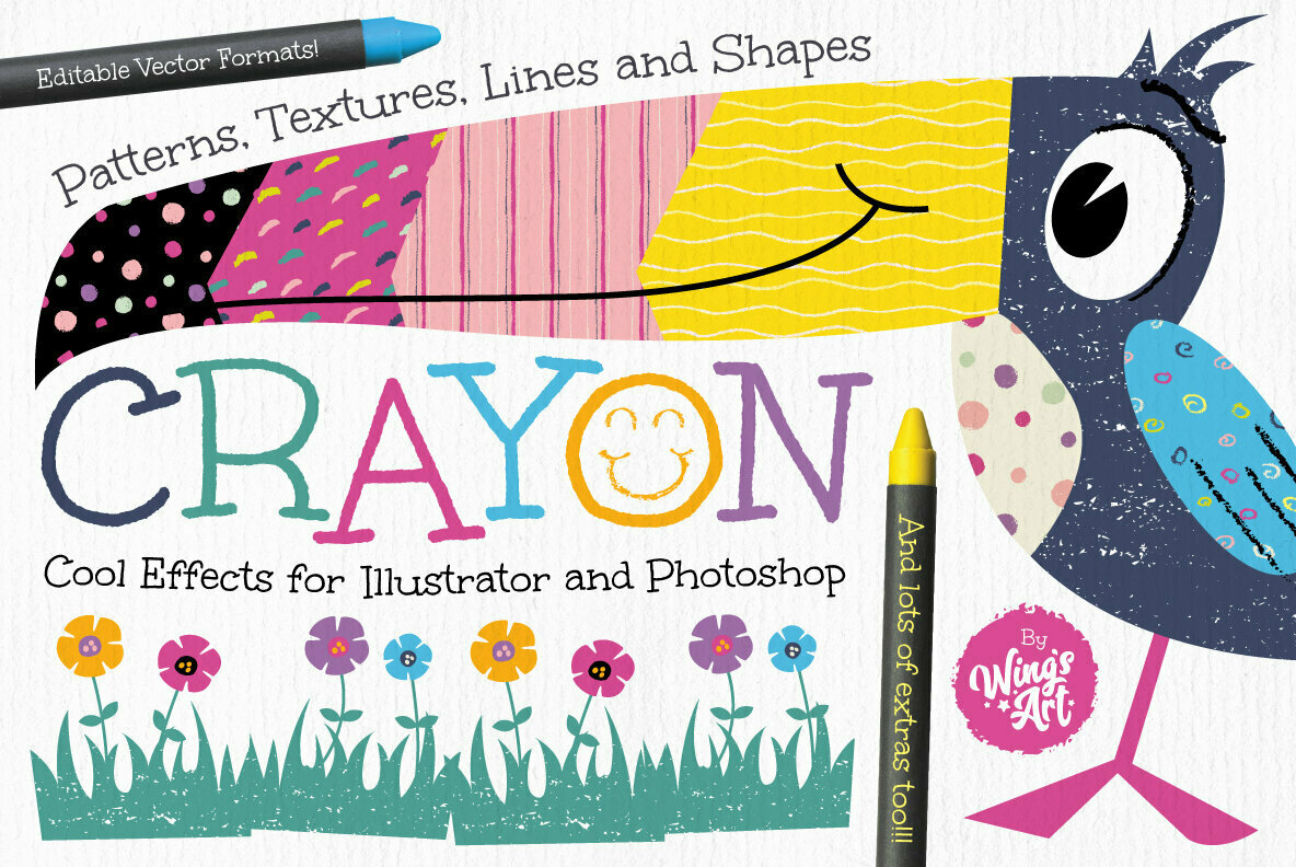 Wax Crayon Patterns and Textures