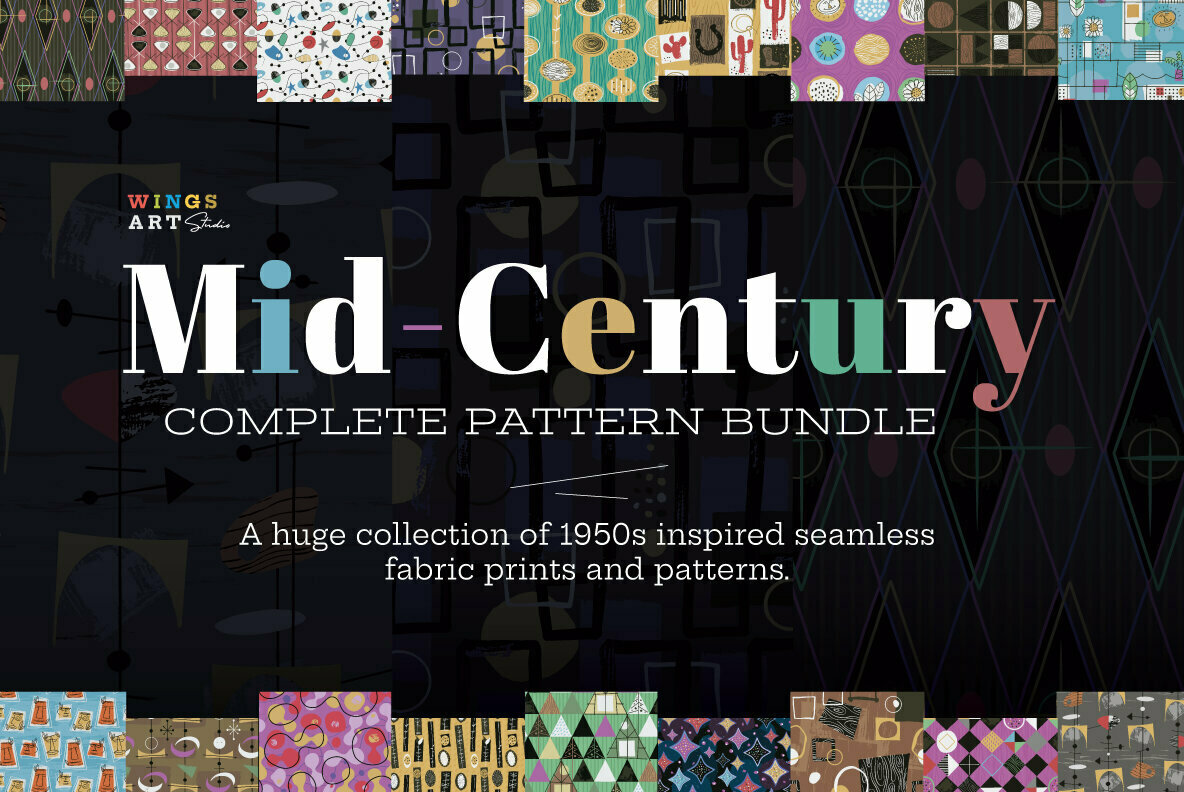 Mid Century Seamless Patterns Collection