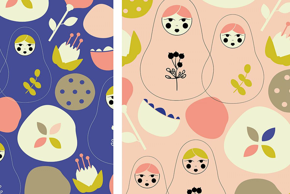Matryoshka Dolls Pattern Vector Art