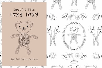 Sweet Little Fox Loxy Seamless Pattern